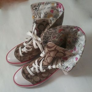 Coach Logo Brown Bonney Hightop Shoes